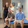 JOED VIERA/STAFF PHOTOGRAPHER- Lockport, NY- Physical therapy assistant's Melissa Calamita, Kathy Clarkson, Brett Smith and Greg Stephens sit in the newly renovated physical therapy area.