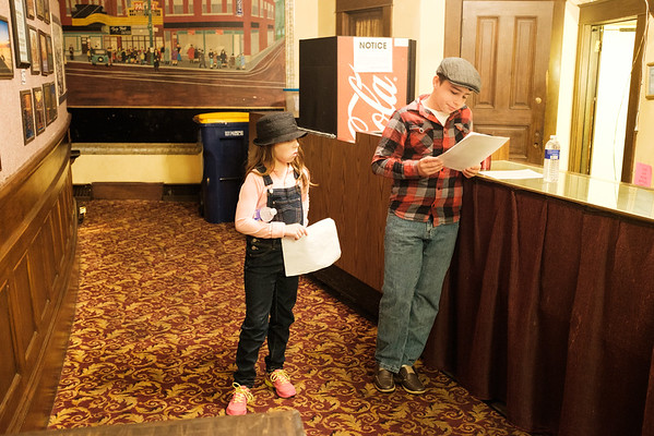 JOED VIERA/STAFF PHOTOGRAPHER-Lockport, NY-   Nathaniel and Ava Moran,13 and 8, prepare to audition for Scrooge: The Musical at the Historic Palace Theatre. Hopefuls were to bring sheet music and a prepared song for the audition. Auditions were held for second graders and up.
