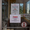 JOED VIERA/STAFF PHOTOGRAPHER-Lockport, NY-  Signs apologize for the closing of the Dunkin' Donuts at the Town Square Plaza on Dysinger Road.