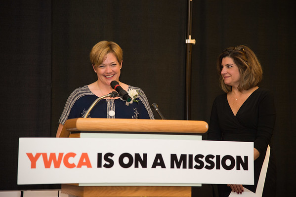JOED VIERA/STAFF PHOTOGRAPHER--Niagara Falls,NY- Amanda Lytle Sharpe accepts the art award at the YWCA Niagara Awards.