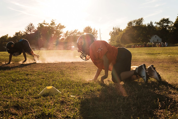 JOED VIERA/STAFF PHOTOGRAPHER-Lockport, NY-Lockport Little Loop Panthers run through drills during practice.