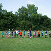 JOED VIERA/STAFF PHOTOGRAPHER-Lockport, NY-Kids line up to play a game of kickball on the last day of the YMCA Day Camp.