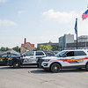 JOED VIERA/STAFF PHOTOGRAPHER- Lockport, NY- State Police, Lockport Police and Niagara Sheriffs vehicles park on Canal Street.
