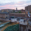 JOED VIERA/STAFF PHOTOGRAPHER-Lockport, NY- The sun sets over the first ward and locks on Thursday.