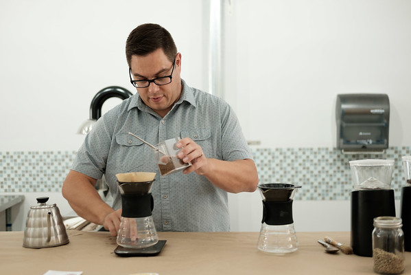 JOED VIERA/STAFF PHOTOGRAPHER-Lockport, NY-Jonathan Grose makes a cup of  pour over coffee at Steamworks, his new shop.