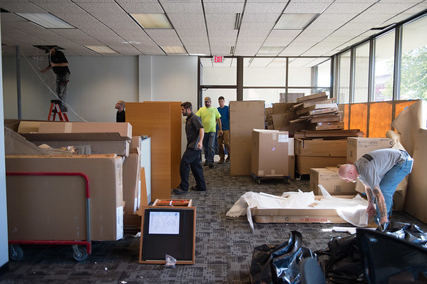 JOED VIERA/STAFF PHOTOGRAPHER-Lockport, NY-  Workers prepare the new Union-Sun & Journal building on Friday, September, 16.