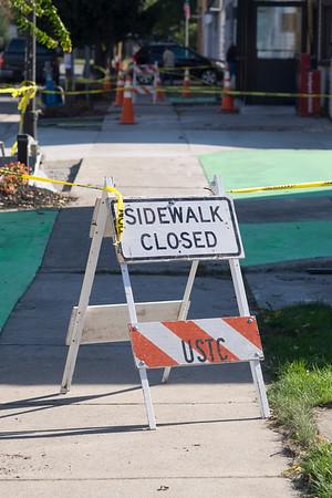 JOED VIERA/STAFF PHOTOGRAPHER-Newfane, NY- Main Street construction shut down access to sidewalks in front of Bills Dinner, Food King and Flint Bros Hardware.