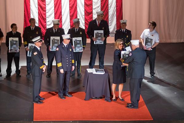 JOED VIERA/STAFF PHOTOGRAPHER-Lockport, NY- Rodney Recore receives a proclamation from Lockport Mayor Anne McCaffrey on behalf of Gasport Fire Company.