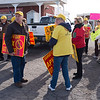 JOED VIERA/STAFF PHOTOGRAPHER-Lockport, NY-Picketers prepare to rally in protest against the installation of Apex windmills by the Ontario Shoreline outside the Niagara Falls Air Reserve Station.