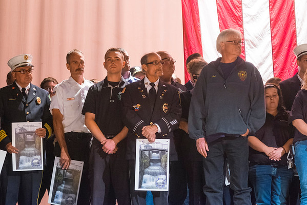 JOED VIERA/STAFF PHOTOGRAPHER-Lockport, NY- Dozens of Fire Companys fill the stage of the Palace Theatre after receiving proclamations from Lockport Mayor Anne McCaffrey