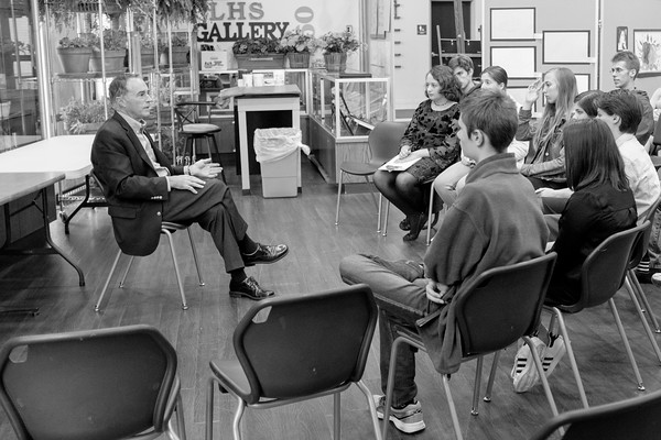 JOED VIERA/STAFF PHOTOGRAPHER-Lockport, NY- Congressman Chris Collins speaks to Lockport High School's Young Republicans.