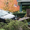 JOED VIERA/STAFF PHOTOGRAPHER-Lockport, NY-The scene of an accident where a driver struck a fence on South Transit Street.