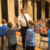 JOED VIERA/STAFF PHOTOGRAPHER-Lockport, NY- Niagara County Sheriff James Voutour distibutes high fives to starpoint students after celebration for Lockport Blue.