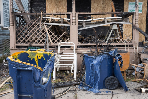 JOED VIERA/STAFF PHOTOGRAPHER-Lockport, NY- A view of 10 Ashley Place's chared remains.