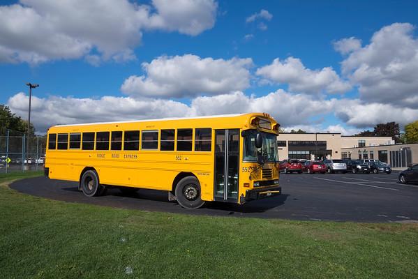 JOED VIERA/STAFF PHOTOGRAPHER-Lockport, NY-A Ridge Road Express schoolbus parks outside of Lockport High School.