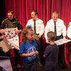 JOED VIERA/STAFF PHOTOGRAPHER-Lockport, NY- Regan Intermediate School students distribute thank you cards to the Niagara County Sheriffs Department Deputy Craig Beiter, Cpt. Todd Ostrowski, Director Mark Kasprzak and Lt. Robert Richards in celebration of Lockport Blue.