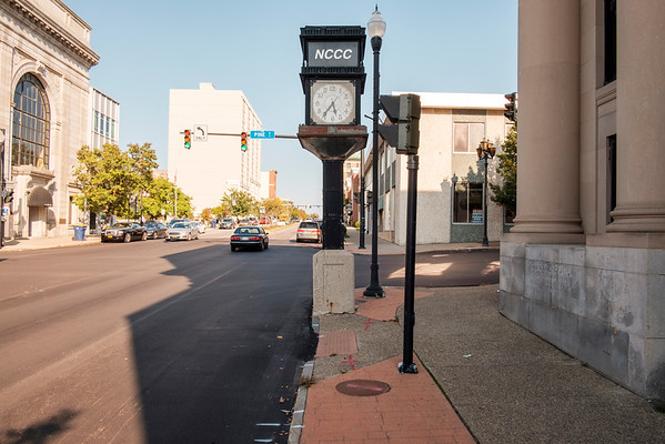 JOED VIERA/STAFF PHOTOGRAPHER-Lockport, NY- The NCCC Clock on Pine Street in front of the old Niagara County National Bank Building.