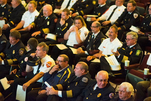 JOED VIERA/STAFF PHOTOGRAPHER-Lockport, NY- Dozens of Fire Companys sent representatives to the Palace Theatre for the Salute to Stevens Street Heroes event.