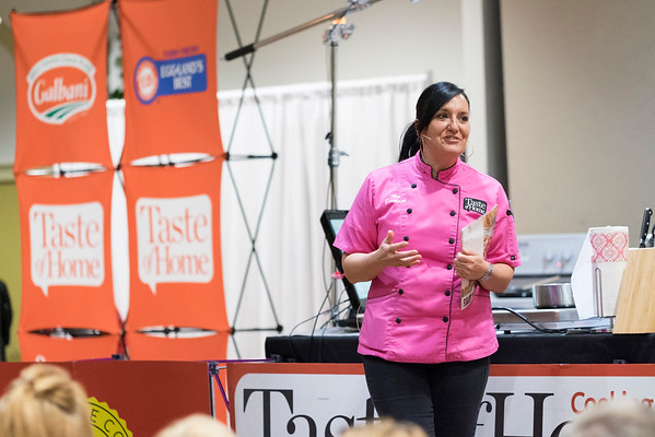JOED VIERA/STAFF PHOTOGRAPHER-Niagara Falls, NY- Taste of Home Culinary Specialist Amy Zarichnak speaks at the Taste of Home Cooking School event held at Antonio's.