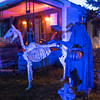 JOED VIERA/STAFF PHOTOGRAPHER-Lockport, NY-A haunted horseman and the skeleton of his steed stand in the display in front of 25 Crosby Avenue.