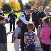 JOED VIERA/STAFF PHOTOGRAPHER-Lockport, NY- Niagara County Sheriffs' Captain Todd Ostrowski thanks Anna Merritt students for the bags they made for law enforcment officers.