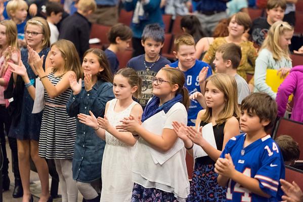 JOED VIERA/STAFF PHOTOGRAPHER-Lockport, NY- Starpoint students applaud the Niagara County Sheriffs Department in celebration of Lockport Blue.