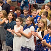 JOED VIERA/STAFF PHOTOGRAPHER-Lockport, NY- Starpoint students applaud the Niagara County Sheriffs Department in celebration of Lockport Blue.