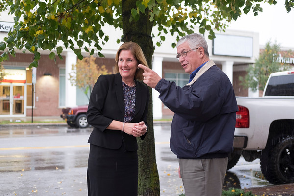 JOED VIERA/STAFF PHOTOGRAPHER-Lockport, NY- Lockport Mayor Anne McCaffrey and Lockport Town Supervisor Mark Crocker chat about the Palace Theatre on Old Post Office on Main Street.