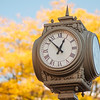 JOED VIERA/STAFF PHOTOGRAPHER-Lockport, NY- A clock on Market Street and Main Street in front of the Niagara County DMV.