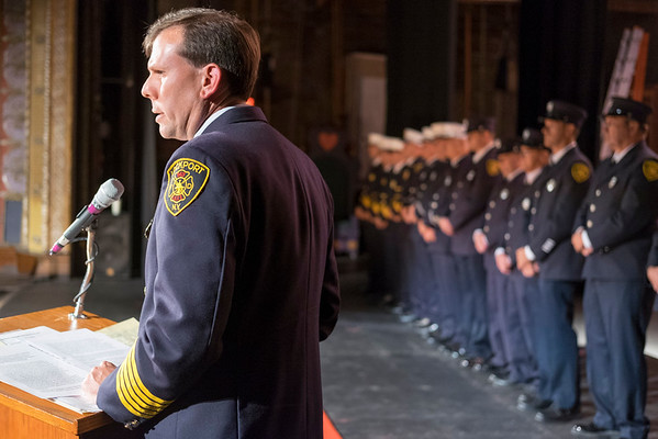 JOED VIERA/STAFF PHOTOGRAPHER-Lockport, NY- Lockport City Fire Chief Pat Brady speaks during the Salute to Stevens Street Heroes event at the Palace Theatre.