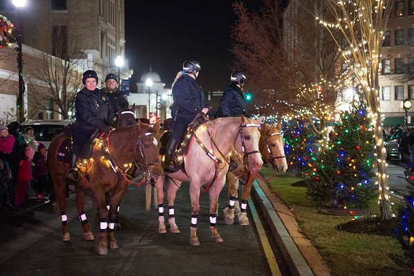 JOED VIERA/STAFF PHOTOGRAPHER-Lockport, NY-    Sheriffs deputies lead the Light Up Lockport Parade on horseback.