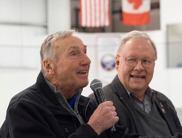 JOED VIERA/STAFF PHOTOGRAPHER-Lockport, NY-    Buffalo Sabres Alumni Jim Lorentz and Randy Schultz speak at a round table event at Cornerstone Arena during Hockey Day.