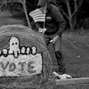JOED VIERA/STAFF PHOTOGRAPHER-Lockport, NY-Bob Banks spray paints democratic art on hay bales outside his property on Robinson Road.