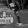 JOED VIERA/STAFF PHOTOGRAPHER-Lockport, NY-Bob Banks spray paints democratic art on hay bales outside his property on Robinson Road.