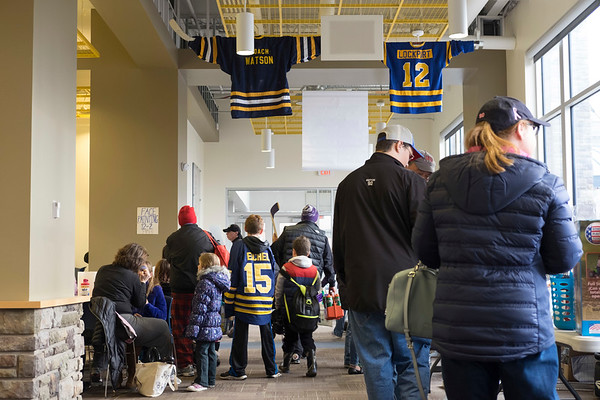 JOED VIERA/STAFF PHOTOGRAPHER-Lockport, NY-    A crowd of people fill Cornerstone Arena during Hockey Day.