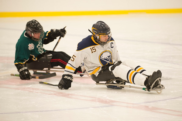JOED VIERA/STAFF PHOTOGRAPHER-Lockport, NY-    A scene from thhe Buffalo Sabres Intermediate Gold team and Kitchner Sidewinders game during Hockey Day at Cornerstone Arena.