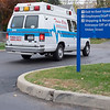 JOED VIERA/STAFF PHOTOGRAPHER-Lockport, NY- A Twin City Ambulance truck drives away from Eastern Niagara Hospital after responding to a call on Wednesday.