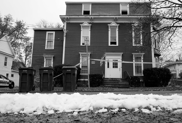 JOED VIERA/STAFF PHOTOGRAPHER-Lockport, NY-    A body was discovered at this apartment building on Cottage Street after a fire forced residents out on Friday morning.