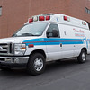JOED VIERA/STAFF PHOTOGRAPHER-Lockport, NY- A Twin City Ambulance truck parks outside of Eastern Niagara Hospital after responding to a call on Wednesday.