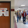 JOED VIERA/STAFF PHOTOGRAPHER-Lockport, NY-Starpoint High School students pass by handmade campain signs on the walls of the schools hallways.