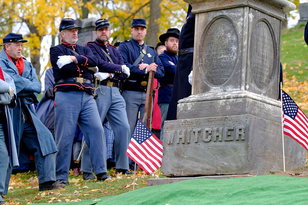 JOED VIERA/STAFF PHOTOGRAPHER-Lockport, NY- Civil War re-enactors attend the unveiling ceremony for the Whitcher Monument.