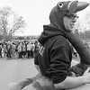 JOED VIERA/STAFF PHOTOGRAPHER-Newfane, NY-This year's turkey, Colin McCabe prepares to lead Newfane middleschoolers in the turkey trot in front of the school Wednesday afternoon.