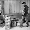 JOED VIERA/STAFF PHOTOGRAPHER-Lockport , NY-Kenny allore carries donations for the Annual Peanut Butter and Jelly Drive in the basement of the Second Presbyterian Church on Van Buren St.