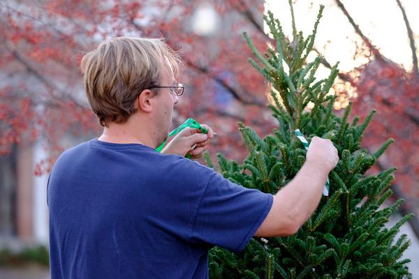 JOED VIERA/STAFF PHOTOGRAPHER- Lockport, NY-Chris Miller installs a christmas tree along a Main Street median.