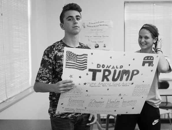 JOED VIERA/STAFF PHOTOGRAPHER-Lockport, NY-Starpoint High School students Riley Richard, 16 and Megan Webe, 16,  hold up a handmade campain sign.