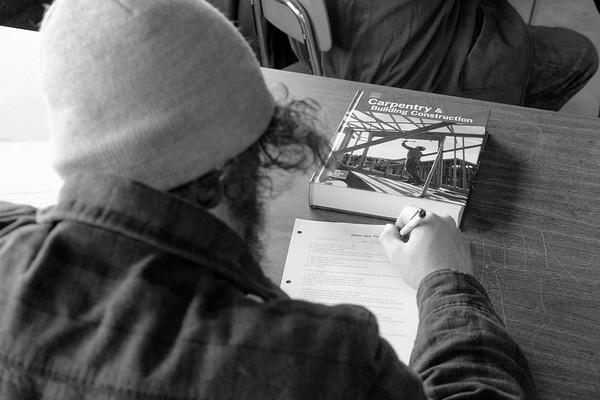 JOED VIERA/STAFF PHOTOGRAPHER- Lockport, NY-Nick Stover takes a test at Isaiah 61.
