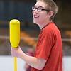 JOED VIERA/STAFF PHOTOGRAPHER- Lockport, NY-Byron Gow smiles while he plays a game of hockey at the Kenan Center during the Special Event.