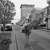 JOED VIERA/STAFF PHOTOGRAPHER- Lockport, NY-Chris Parada carries a christmas tree before installing it along a Main Street median.