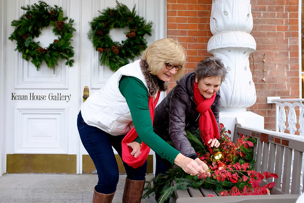 JOED VIERA/STAFF PHOTOGRAPHER-Lockport, NY-  Pat Turner and Katherine Weber decorate the Kenan House in preparation for its Holiday Gift Show.