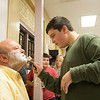 Joed Viera/Staff Photographer Lockport, NY-North Park Junior High School 7th-grader Paul LaGreca, 13, takes a razor to the remains of school's acting principal Wes Pickreign beard.